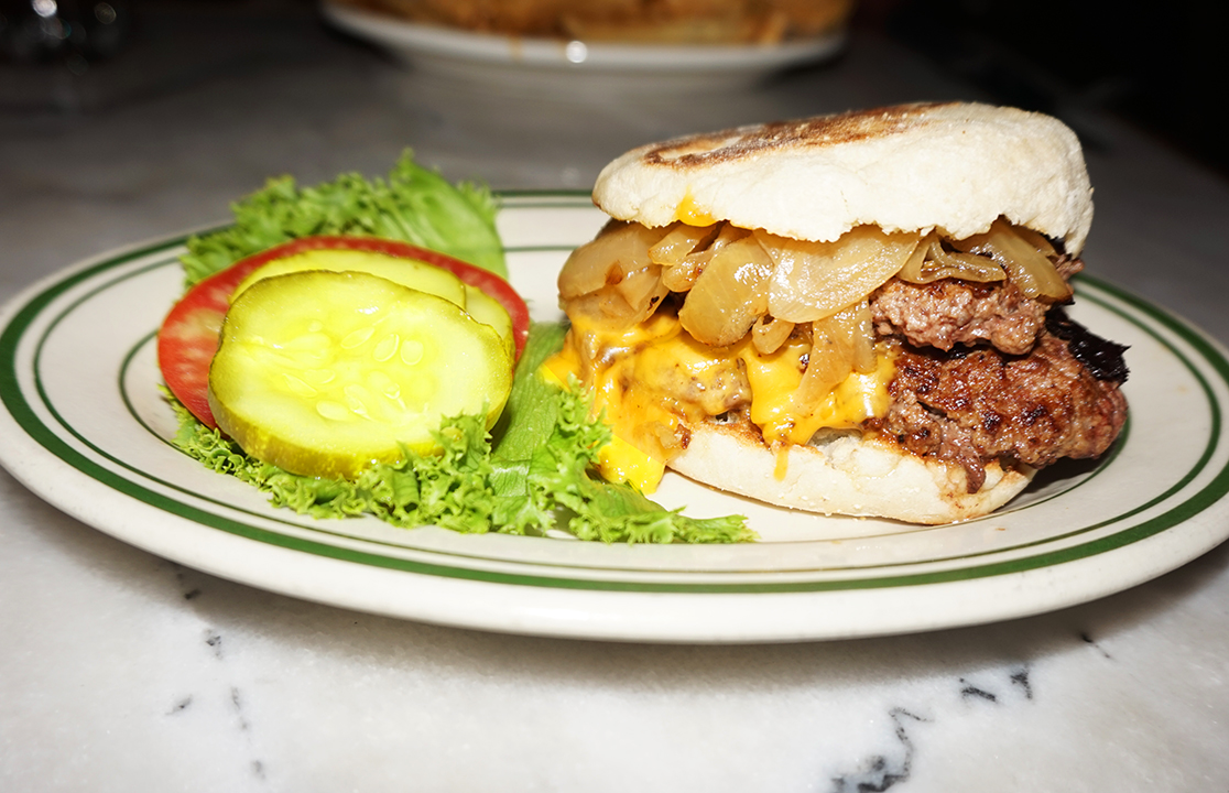 Fat Cat by  Bill's Bar & Burger : caramelized onion, american cheese, english muffin, ltp