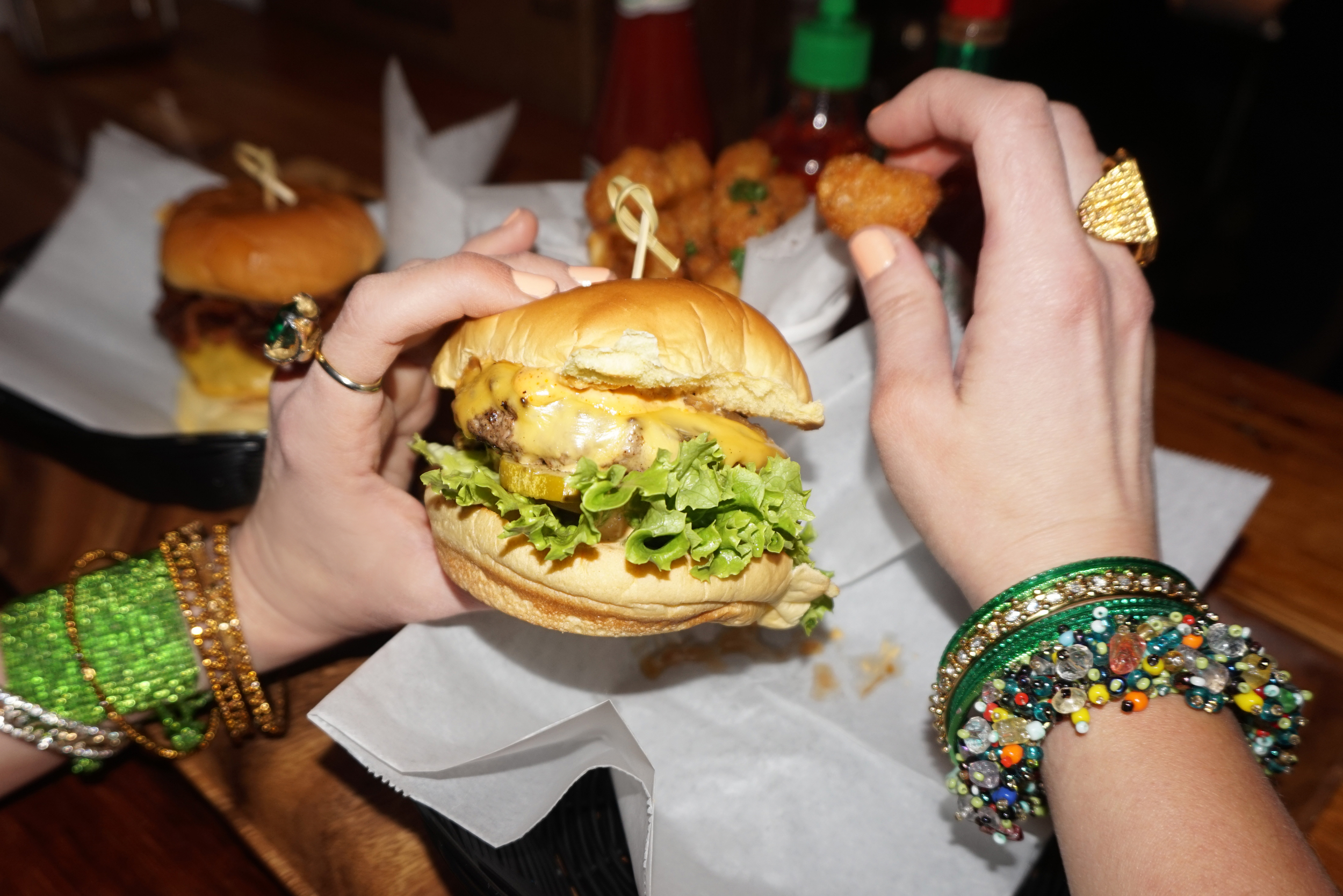 (from left):   Flea Market (from India)   bangles;   Vintage   ring;   LES Kitchen   burger (available   here  );  Flea Market (from India)  bangles