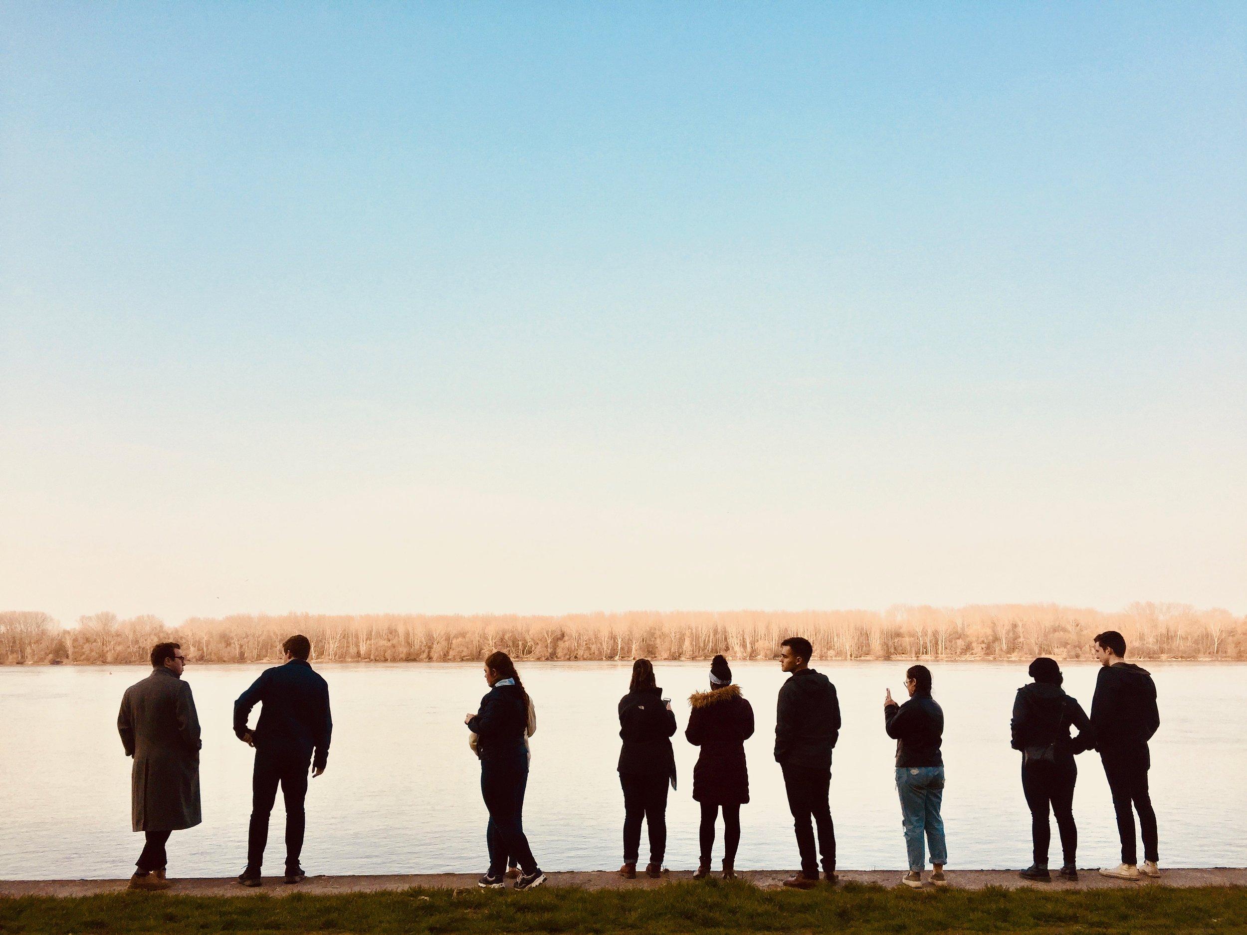 Standing on the banks of the Danube in Vukovar, Croatia