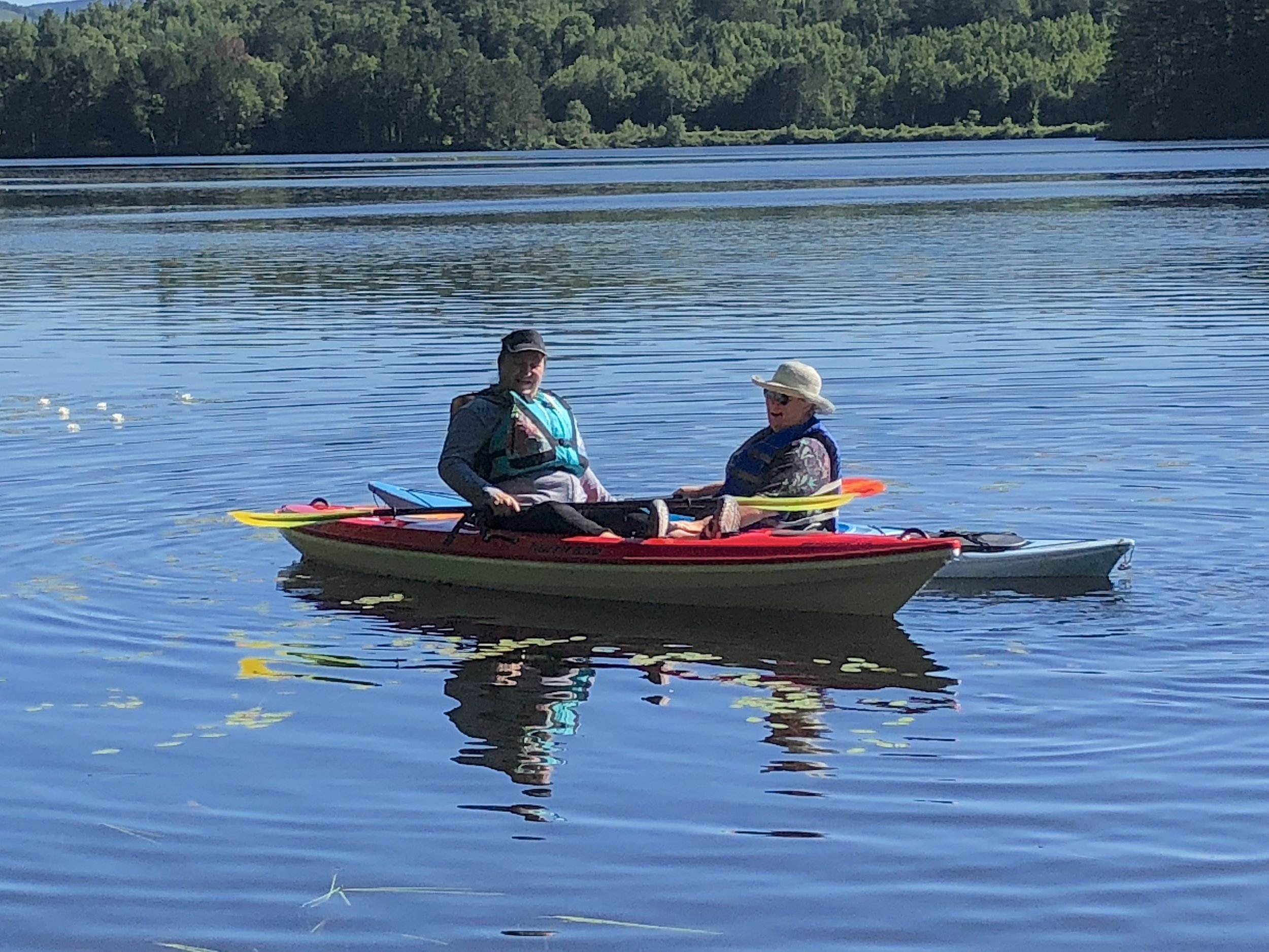 With a waterfront site, I had kayaking sisters like Laurie, Bonnie, and Kim cruise by for a quick hello.