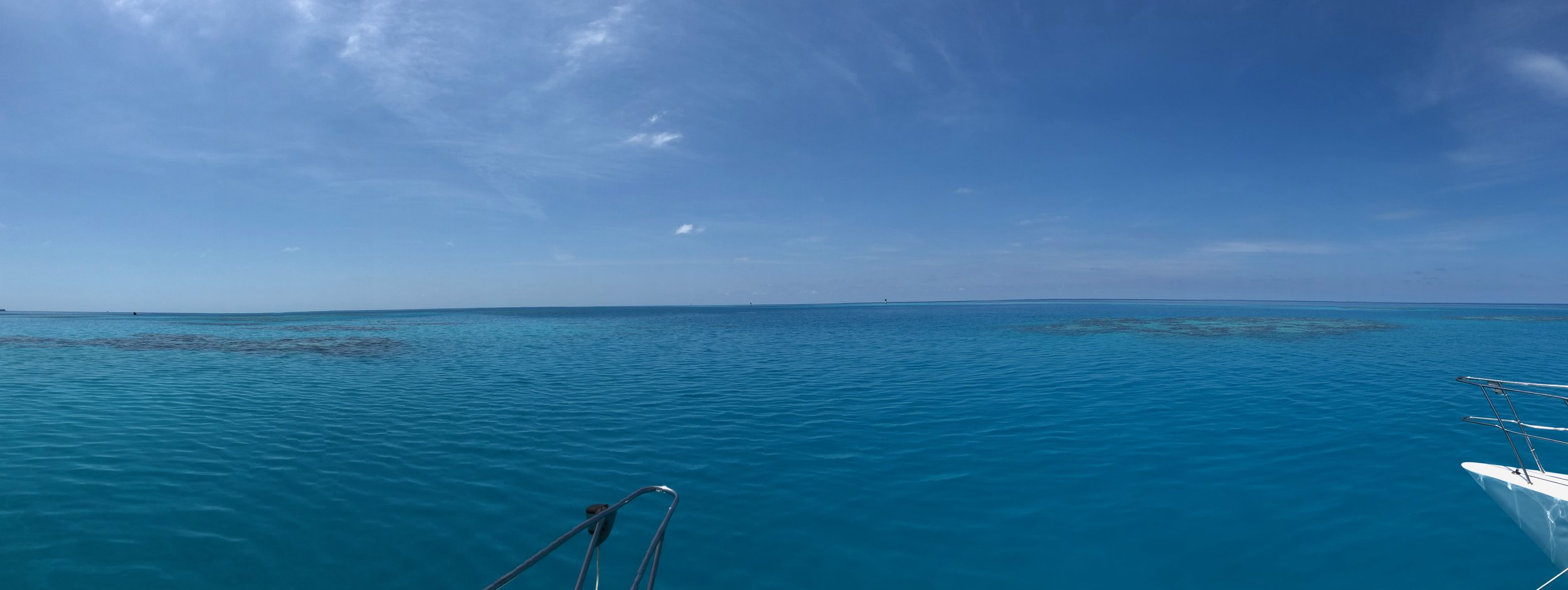 Panorama of the sea over the reef