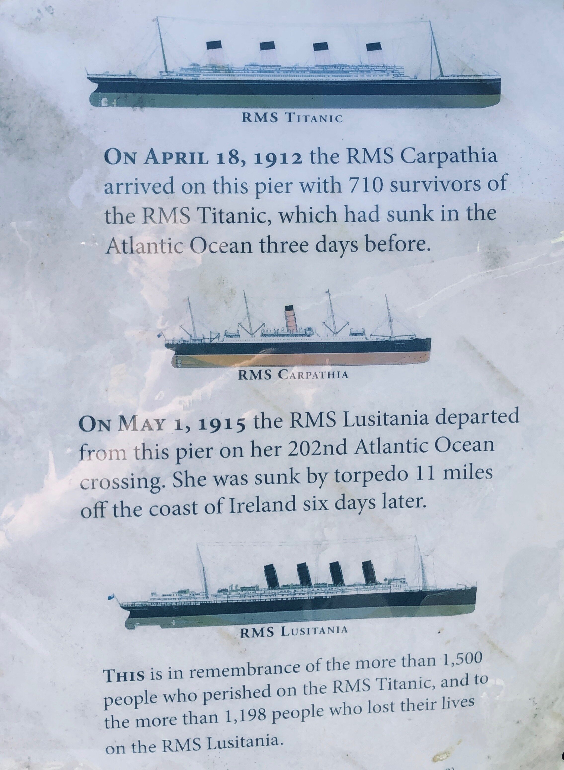 Some information posted on the park construction site, formerly the Cunard, Whitestar Line pier. Not a very lucky point of departure.