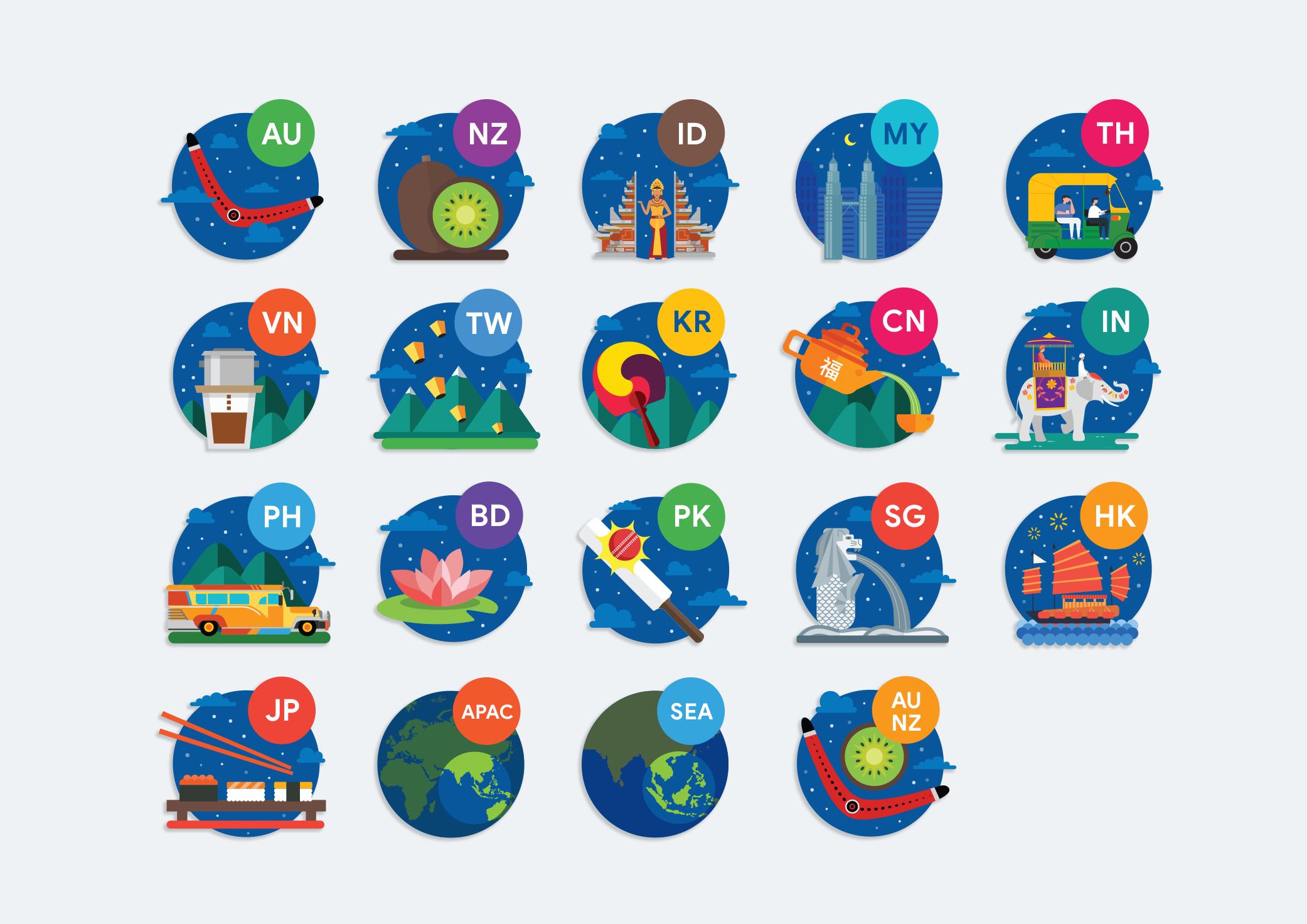 APAC 18 Countries icons