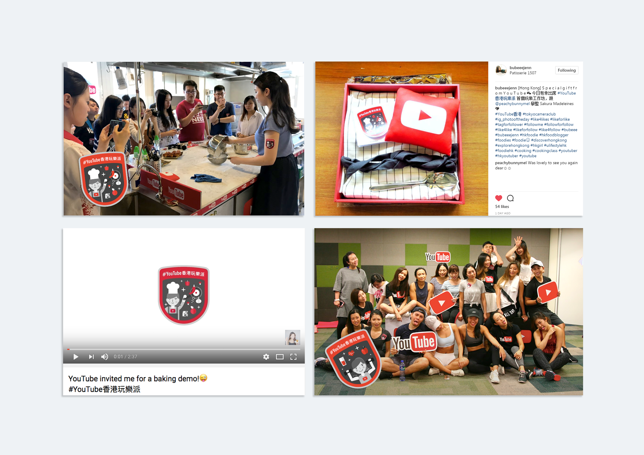 YouTube Fun Class workshop, welcome gifts, swags and YouTube channel.