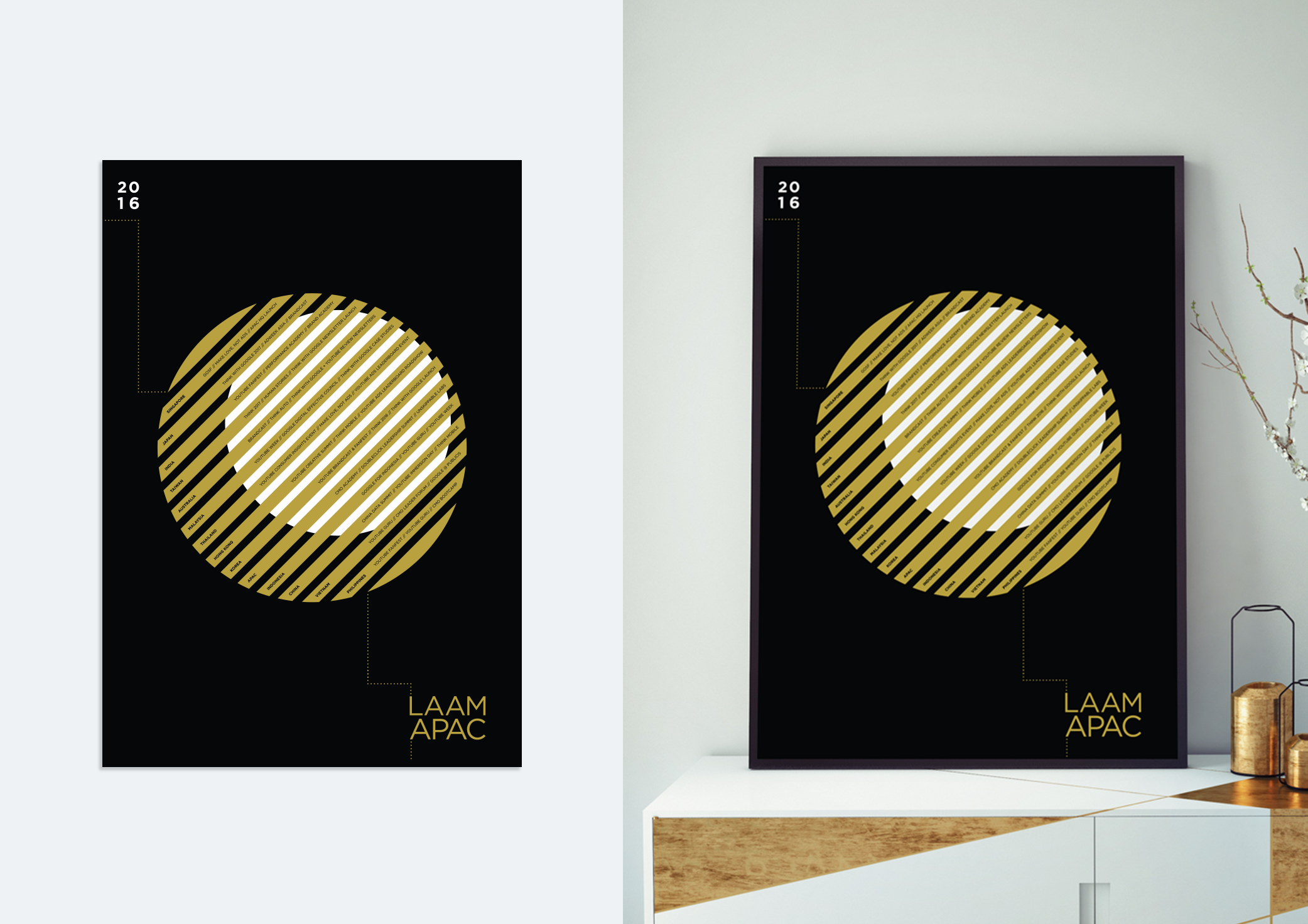 Minimalist and modern poster with production experiments on printing techniques.