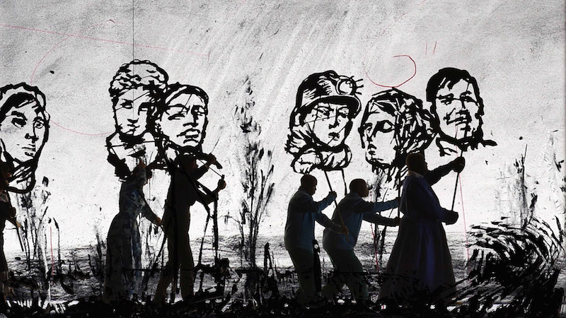 William Kentridge ,  More Sweetly Play the Dance , 2015. Copyright William Kentridge  Courtesy the artist and Marian Goodman Gallery, New York, Paris & London