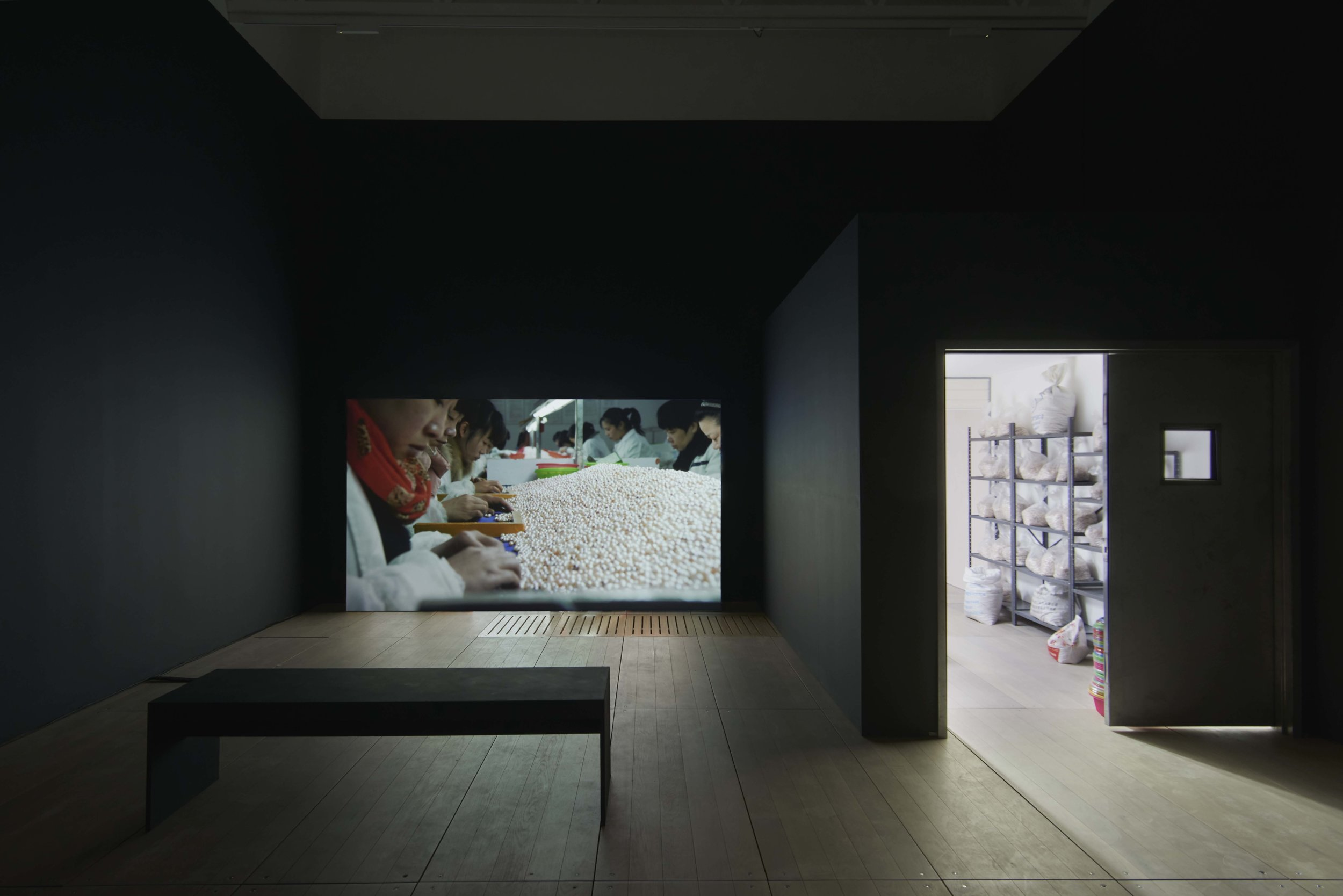 This image and above: Mika Rottenberg,  NoNoseKnows.  2015. Sculpture and video installation, 27:54, dimensions variable. Courtesy of the artist and the collection of Jill and Peter Kraus Installation view: Goldsmiths CCA, 2018. Image credit: Andy Keats, 2018