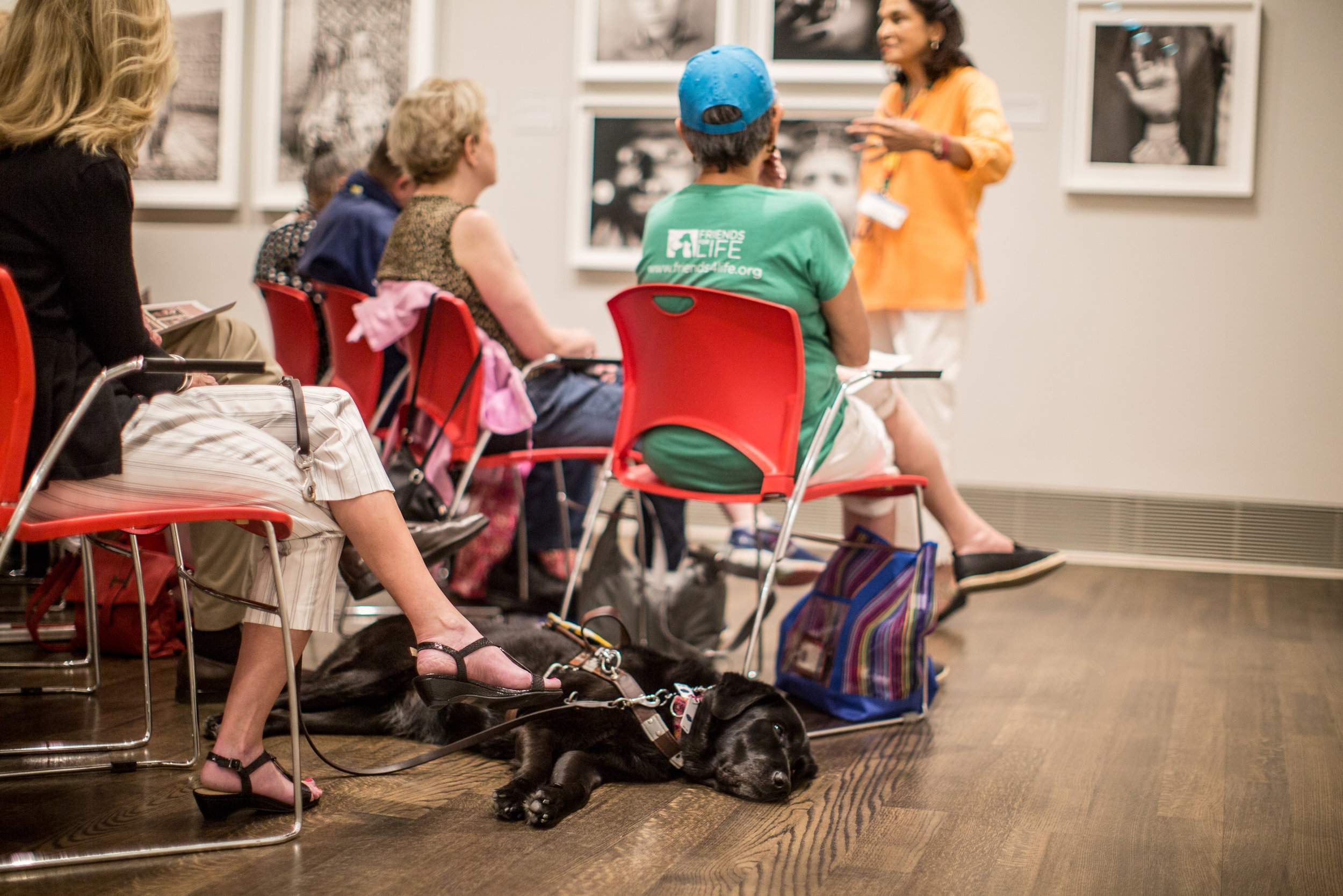 A docent teaches the group. Photograph by Allysson Huntsman. Courtesy of the Museum of Fine Arts, Houston