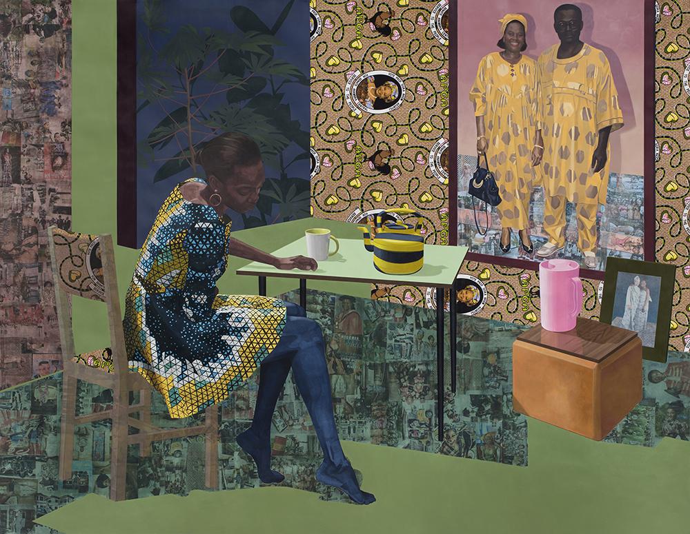 Dwell: Aso Ebi,  2017. Acrylic, transfers, colored pencil, collage, 72 x 60 in
