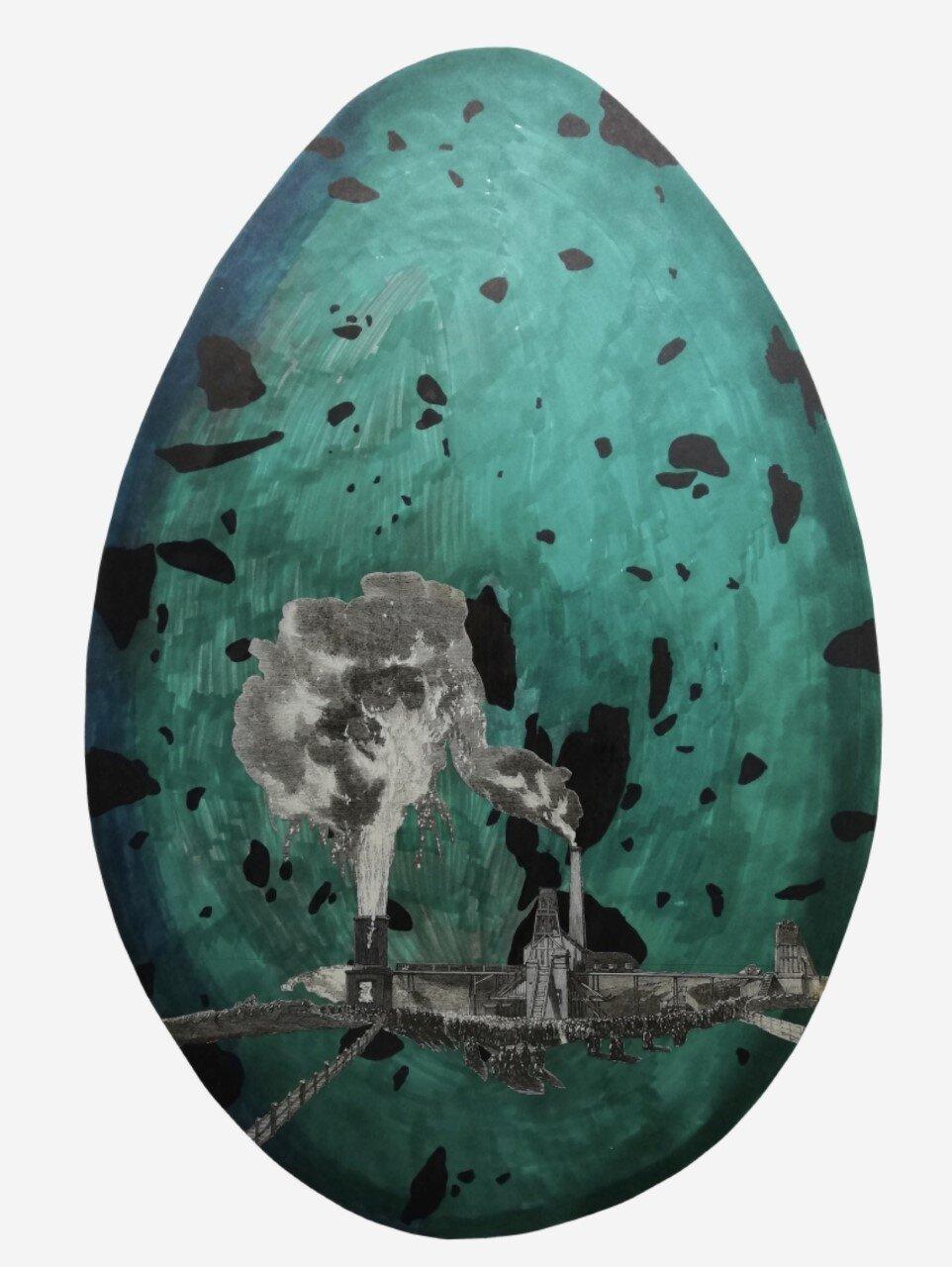Joanna Rajkoswka,  Egg-Earth  (Industrial Revolution), 2019 Collage on hand-made paper
