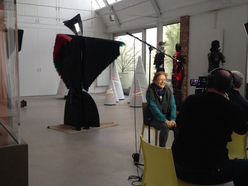 Artist, Liliane Lijn being filmed for Art360