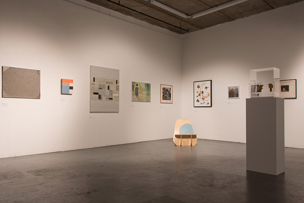 Selected donated works on display at Londonewcastle Project Space. Photo © Brian Benson, 2015.