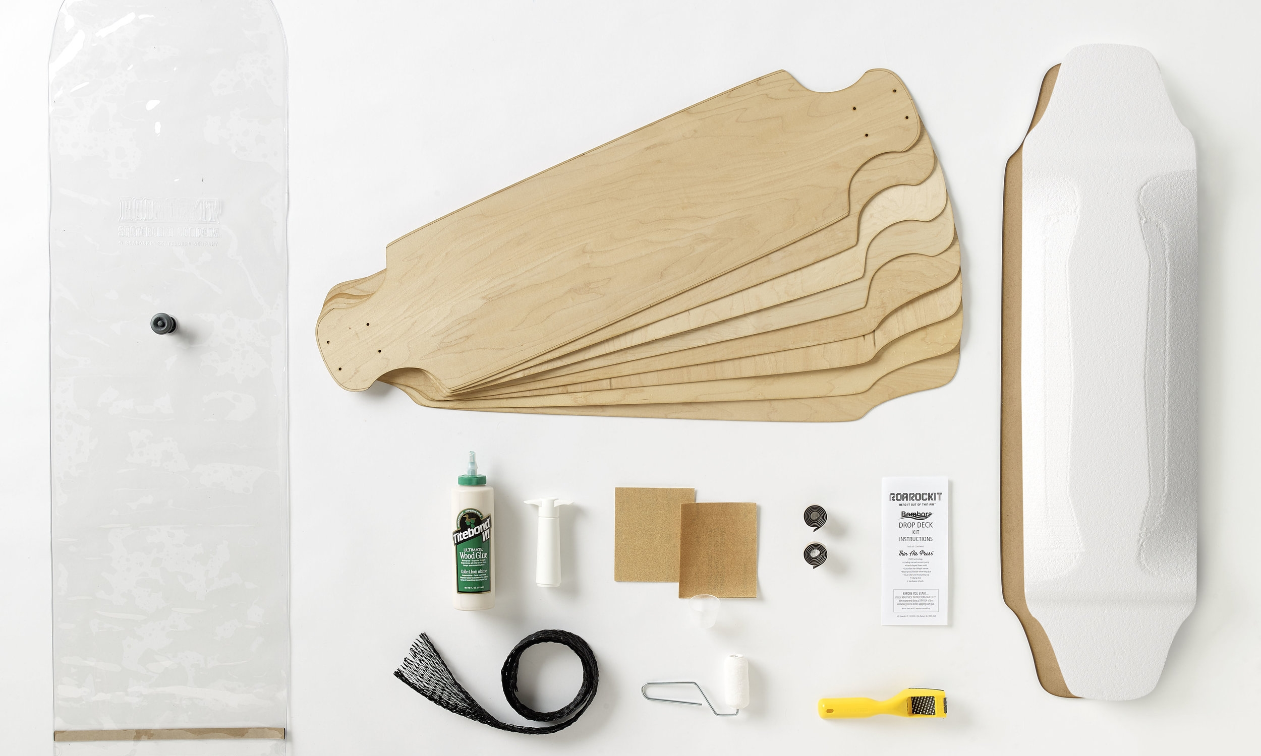 Drop Deck Kit - This kit contains everything you need to press one full drop deck. Most of the items in the kit are reusable so if you want to build another board all you would need is a refill on veneers and glue.