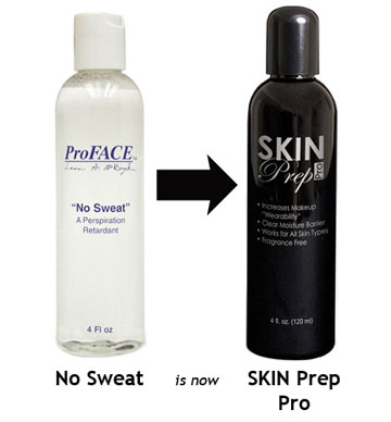 Mehron Skin Prep Pro: Liquid antiperspirant applied underneath makeup. Always apply as first step in skin prep!