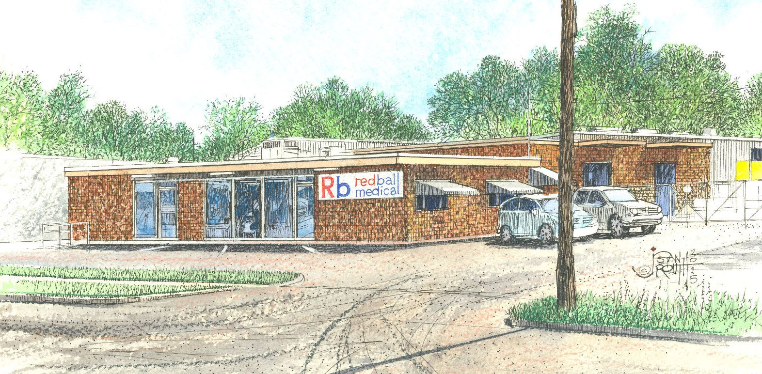 Red Ball Medical Supply depicted by artist Stan Routh.