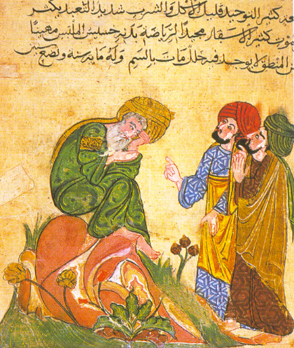 Middle Eastern and Islamic Tales | The Arabian Nights, also known as One Thousand and One Nights, covers many tales from the Islamic Golden Age. Collected from Middle Eastern and South Asian tales of myriad ancient roots, some of the most popular tales told to students are of Scherazade, The Ebony Horse, Aladdin, Ali Baba and the Forty Thieves (told in 4 stories).  Image: an illustration from a Persian version of One Thousand and One Nights, c. 1850s. Public domain via Wikimedia Commons.
