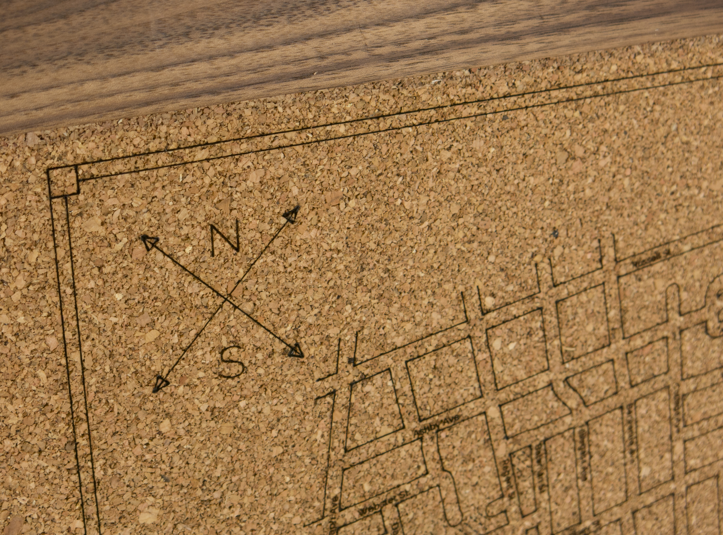 Cork map closeup