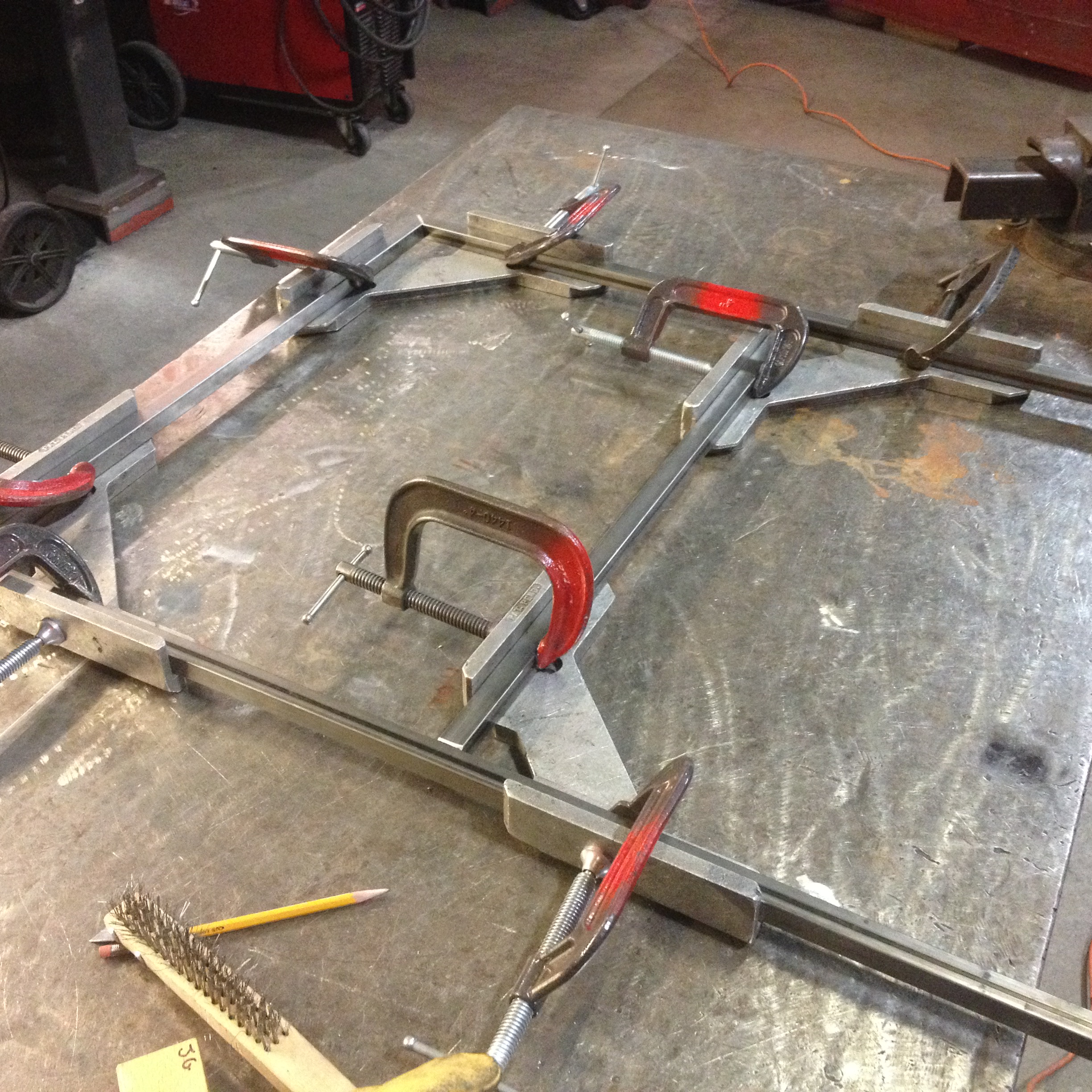 Clamping up the frames in preparation for welding.