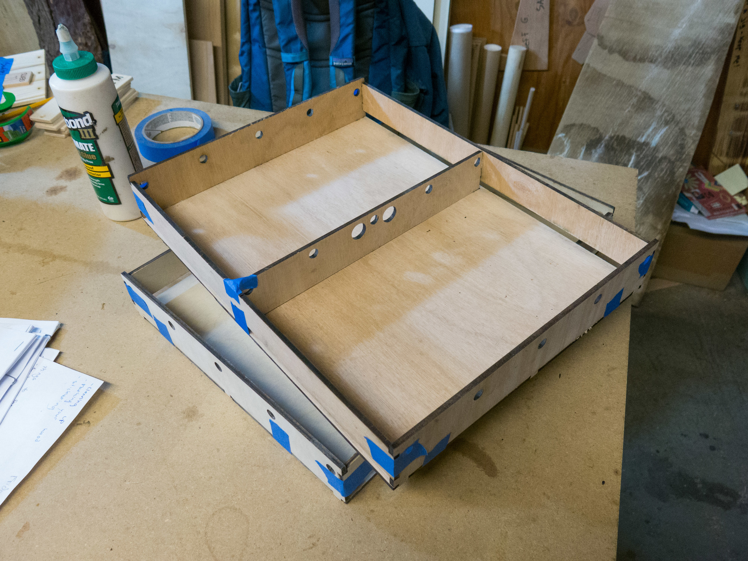 Trays gluing up