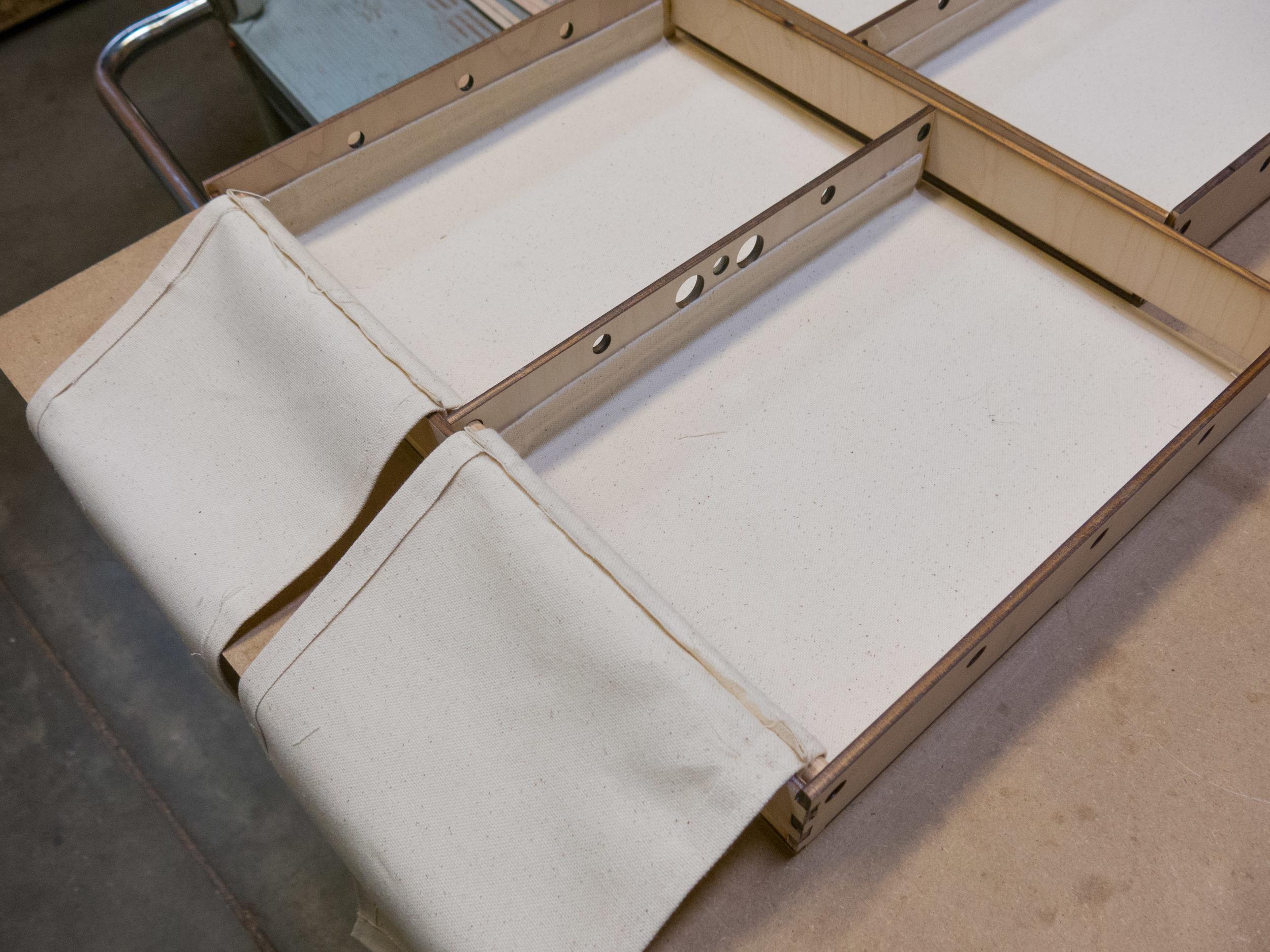 Fabric step 2 - starting the 'hammocks'