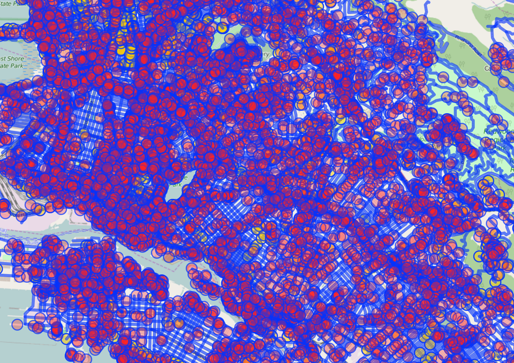 This is what downtown Oakland looks like with all types of roads selected.  7000+ data points.  It's a little busy.