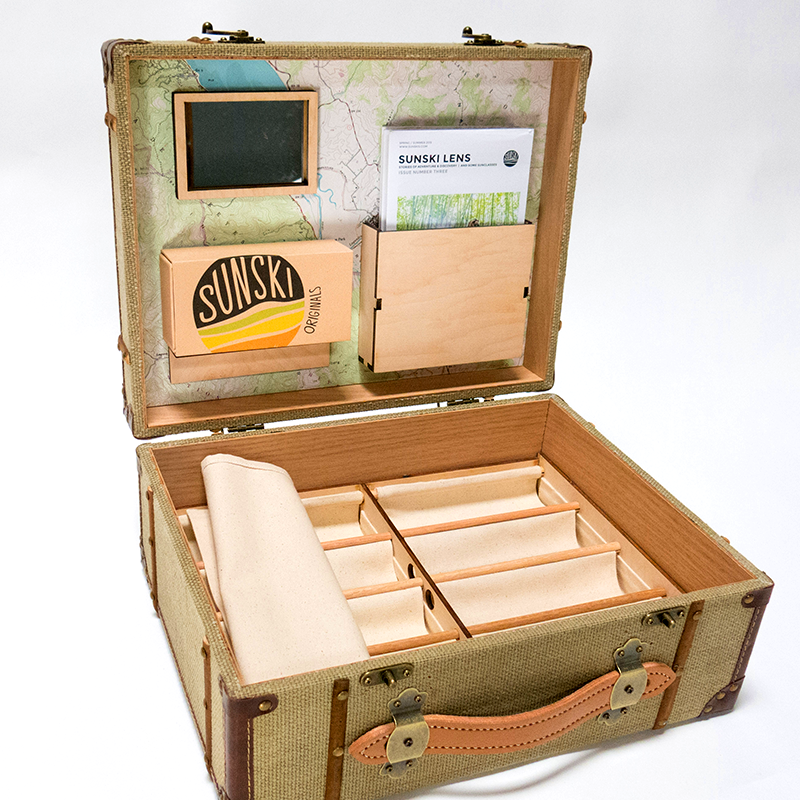 Custom designed and built packaging  Seen here: Sunski traveling salesman briefcase