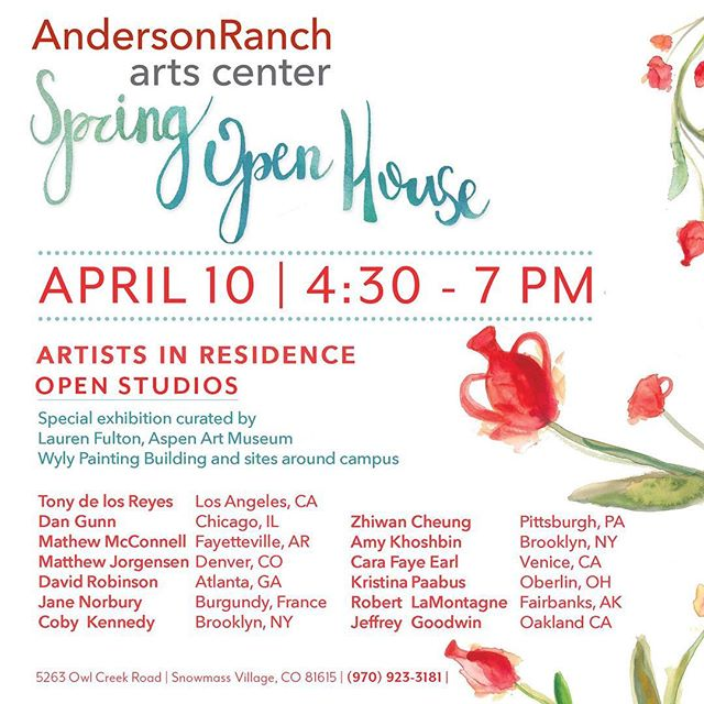 Hey Coloradans, join the party at Anderson Ranch this evening to celebrate the (almost) end to the Spring Residency. They'll be lots of new work, sunshine, dinner and drinks.