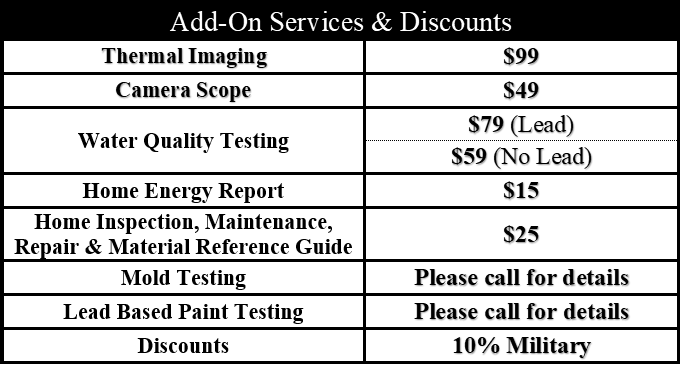 Looking for additional add-on services to your home inspection request? We have a variety of affordable add-ons that you may request and will never sell you something you do not need