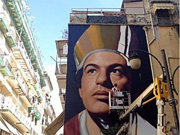 My favorite rendering of San Gennaro, a rather fetching mural in the Forcella neighborhood of Naples.