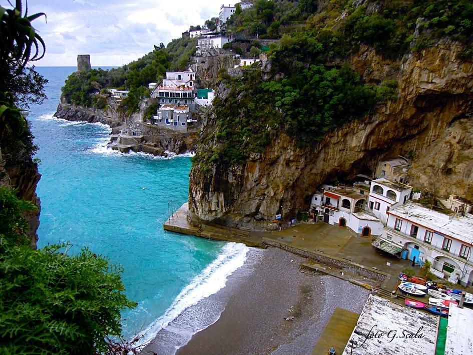 Marina di Praia beach and the Torre Asciola