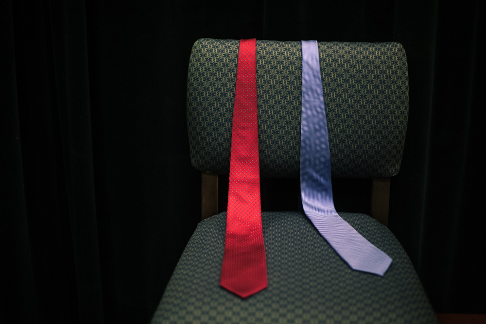 Ties choices left backstage for candidates interviewed in the studio at Saint Anselm College in Manchester.