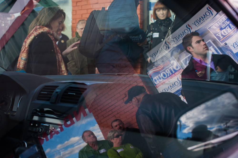Volunteers gather outside a Republican campaign center in southern New Hampshire.