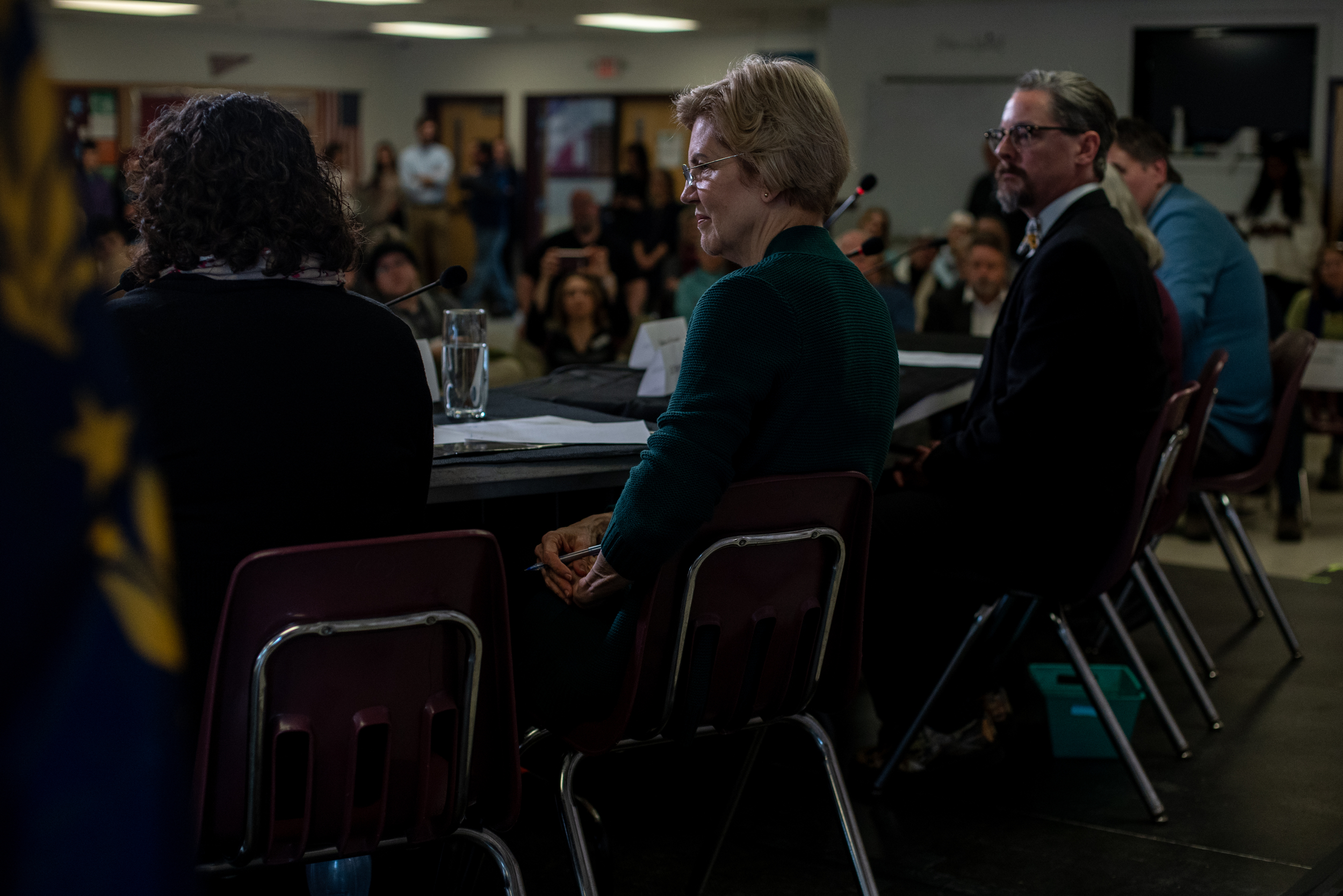 Senator Elizabeth Warren of Massachusetts holds a campaign stop called 'Community Conversations with Elizabeth Warren on the Opioid Crisis' at the Littleton High School in Littleton, New Hampshire, Saturday, March 23, 2019. According to the National Institute on Drug Abuse, New Hampshire is second in the country for highest opioid-related overdose deaths. The U.S. Department of Health and Human Services recently announced New Hampshire will be allocated an additional $12 million to combat the crisis.