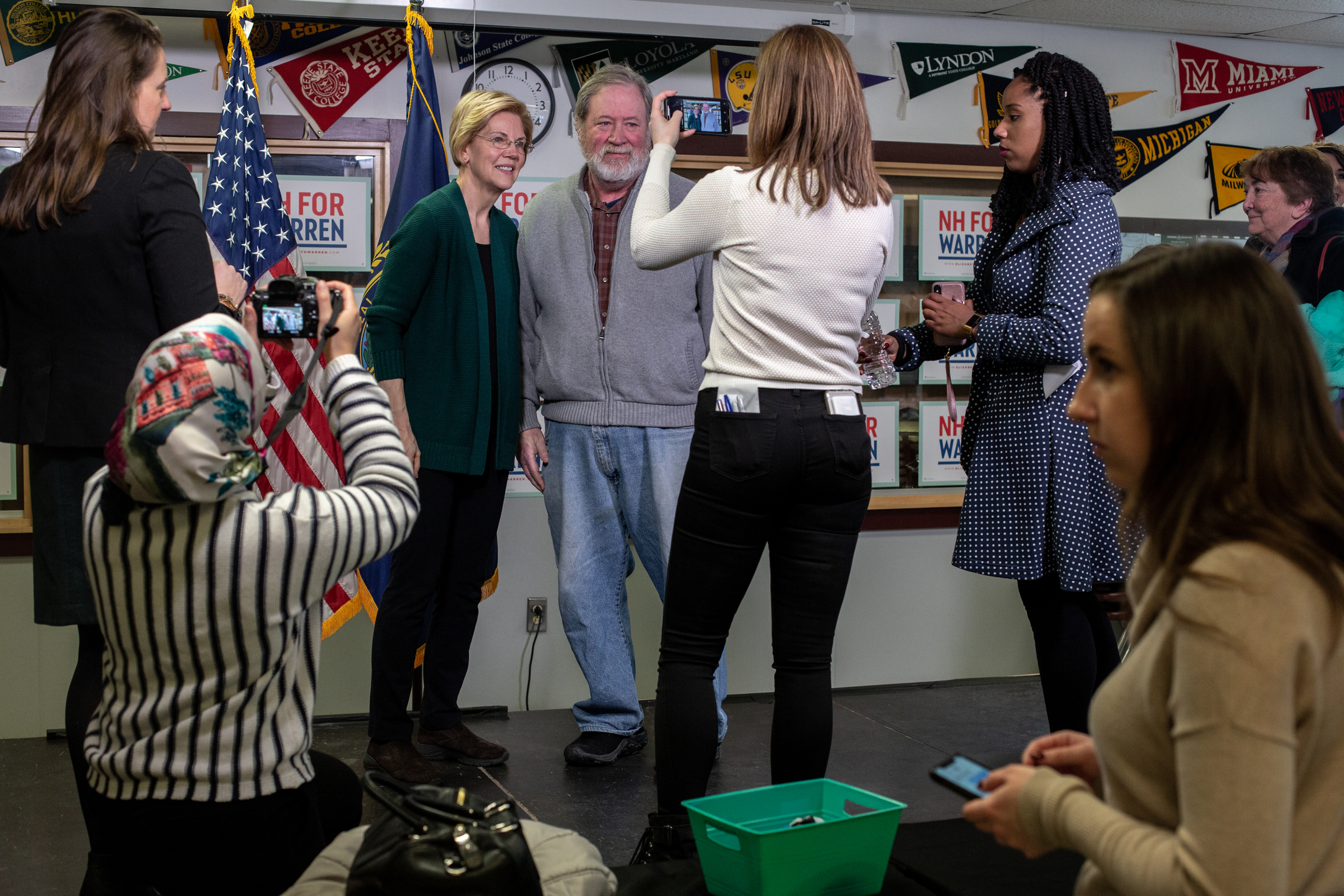 Senator Elizabeth Warren of Massachusetts visits with guests after a campaign stop called 'Community Conversations with Elizabeth Warren on the Opioid Crisis' at the Littleton High School in Littleton, New Hampshire, Saturday, March 23, 2019. According to the National Institute on Drug Abuse, New Hampshire is second in the country for highest opioid-related overdose deaths. The U.S. Department of Health and Human Services recently announced New Hampshire will be allocated an additional $12 million to combat the crisis.