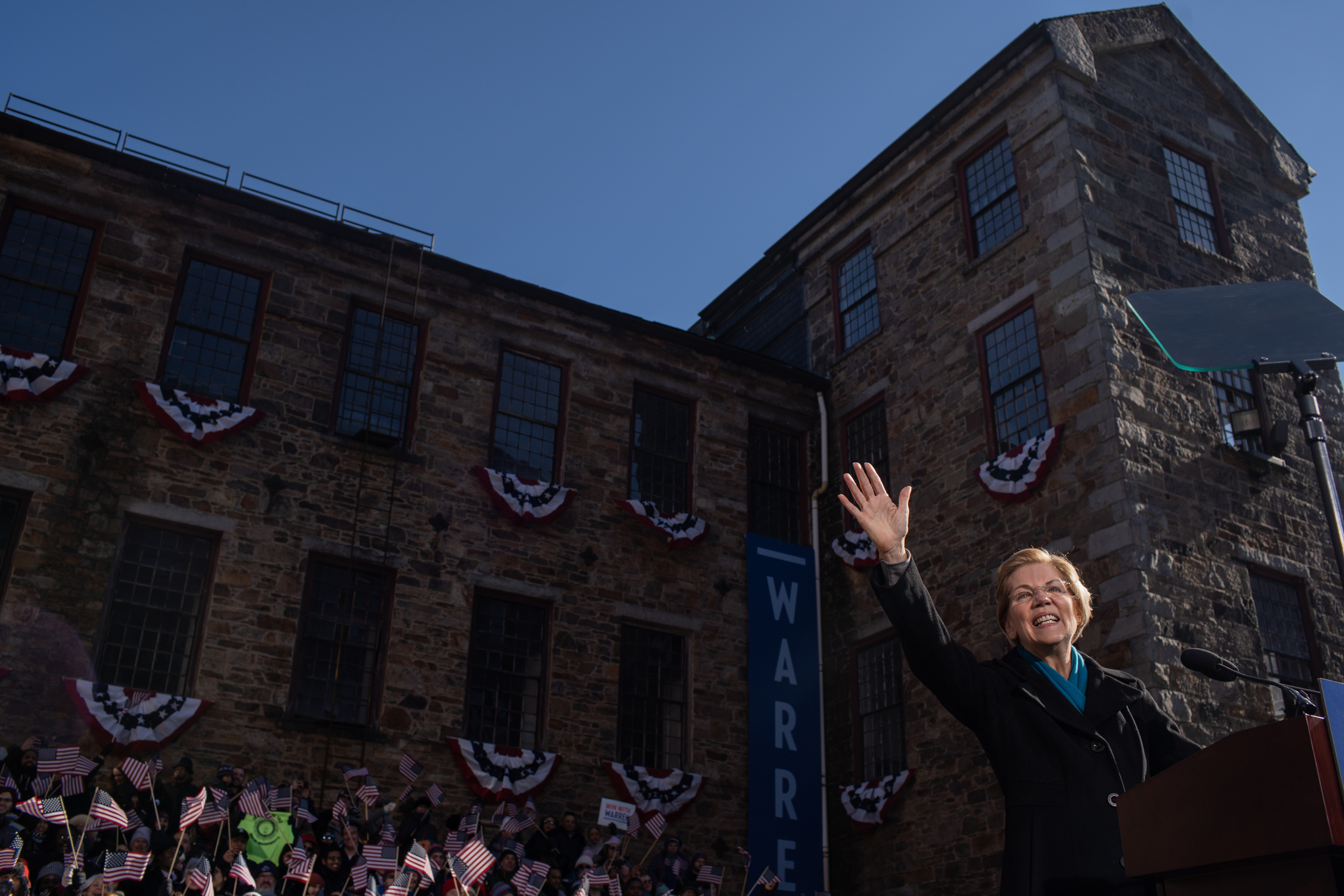 Senator Elizabeth Warren of Massachusetts kicked off her 2020 presidential bid at Everett Mill in Lawrence, Mass., on Saturday, February 9, 2019. The mill was the location for a women-led labor strike in 1912 after their pay was cut. Warren will travel to New Hampshire and Iowa following the event.