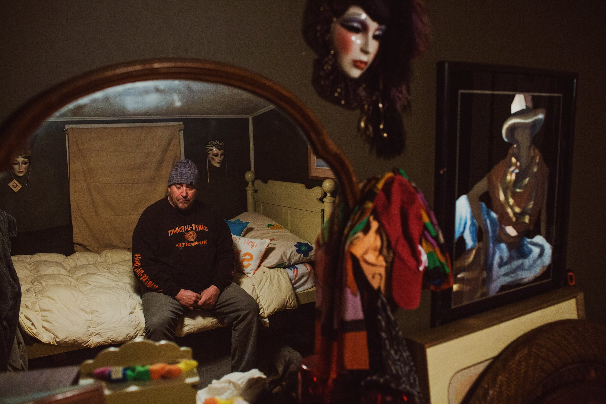 Eric Weil, of Alton, New Hampshire, sits in the bedroom once occupied by Justin Levesque. Weil took in Levesque, a friend's son, who was battling with substance addiction. According to Belknap Superior Court documents, on the night of August 24, 2017, Eric Weil called the Alton Police Department to his home after finding drugs belonging to Levesque. Upon their arrival, Weil attempted to hand a folded piece of paper which contained an unknown substance to the police officers who instructed him to place it on the ground. Following the events of that evening in which Weil picked up the paper because, he said, it was sitting on the ground and he was worried about his animals, Weil was charged with a class B felony. The felony charge is reckless conduct with a deadly weapon after Weil allegedly blew Fentanyl in the direction of police officers while trying to remove a powdery substance he noticed on his person. After being found guilty by a jury for the class B felony, the presiding judge granted Weil's Motion to Set Aside Verdict. From his experience calling the police to report a drug incident to being charged with a class B felony, Weil said he could not trust the police department for assistance in the future. John Tully for The New York Times