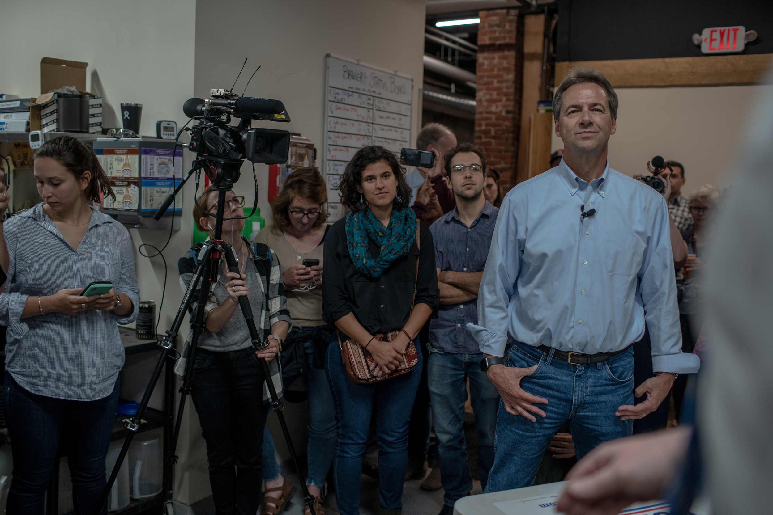Gov. Steve Bullock of Montana visited and addressed a gathering of people at the Concord Craft Brewing Company in Concord, New Hampshire on Friday, June 21, 2019. The stop was one of several over two days during Bullock's first visit to the state as a presidential candidate. 