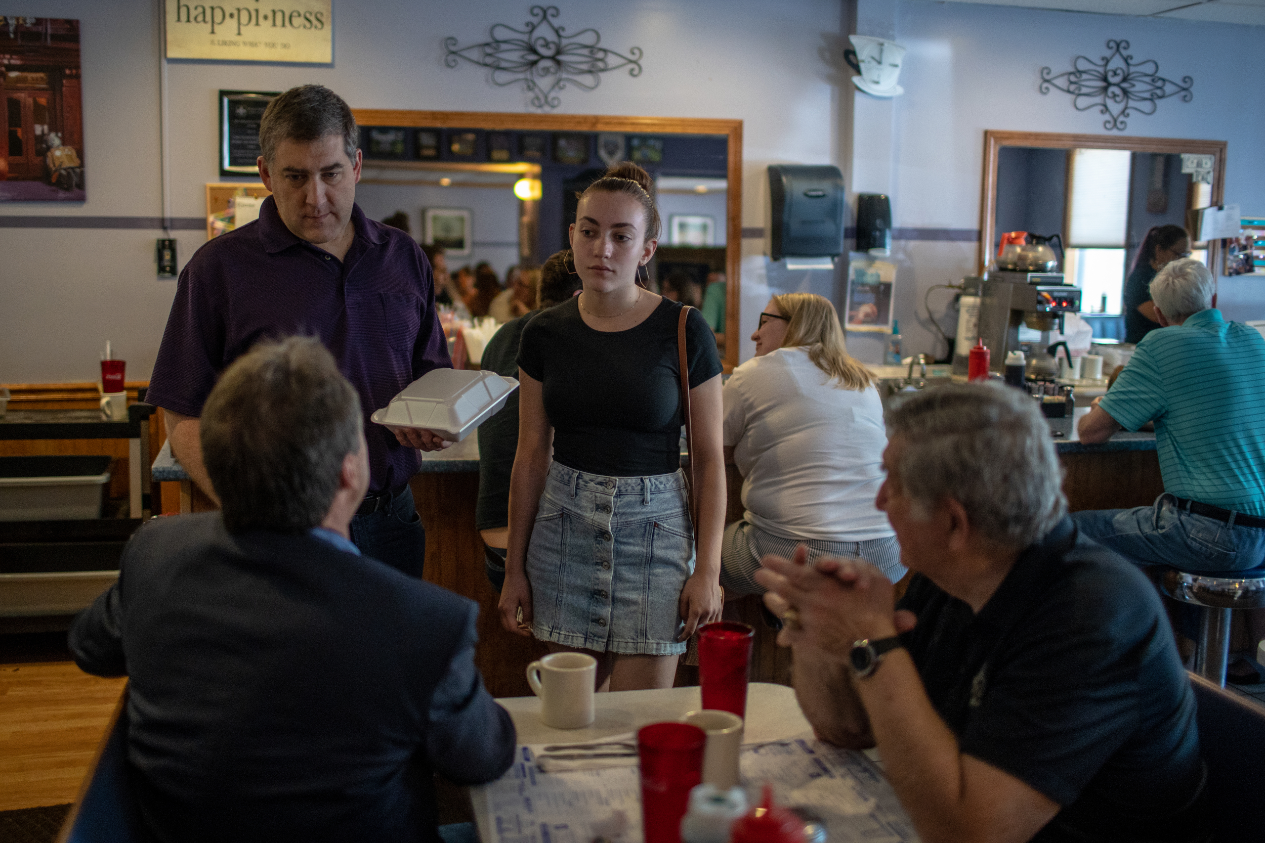 Gov. Steve Bullock of Montana, and Sen. Lou D'Allesandro, (D-Manchester) visited with patrons at several diners throughout Manchester, New Hampshire on Saturday, June 22, 2019. The stop was one of several over two days during Bullock's first visit to the state as a presidential candidate. 