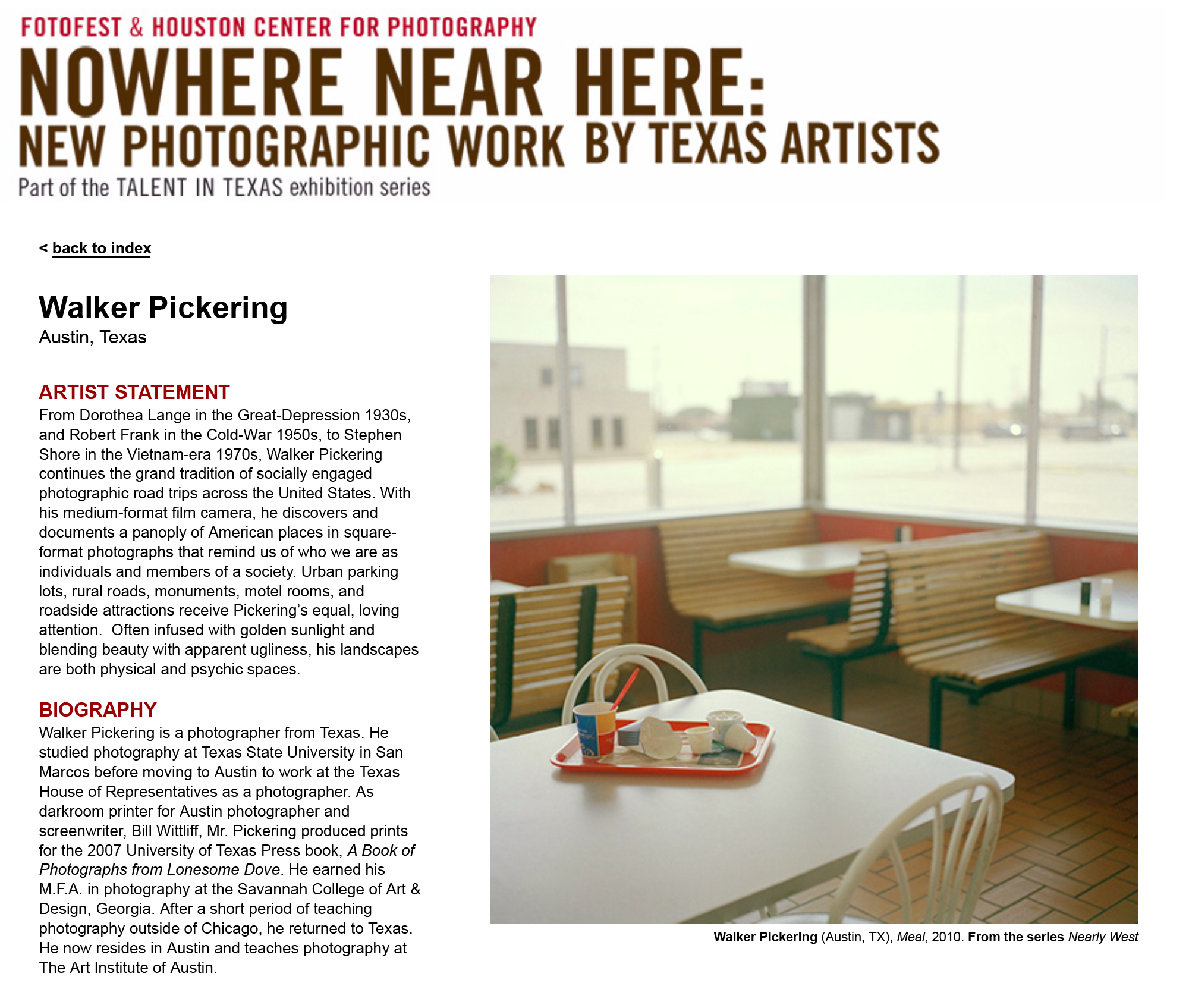 FotoFest Exhibitions 2011 - Nowhere Near Here | Talent in Texas