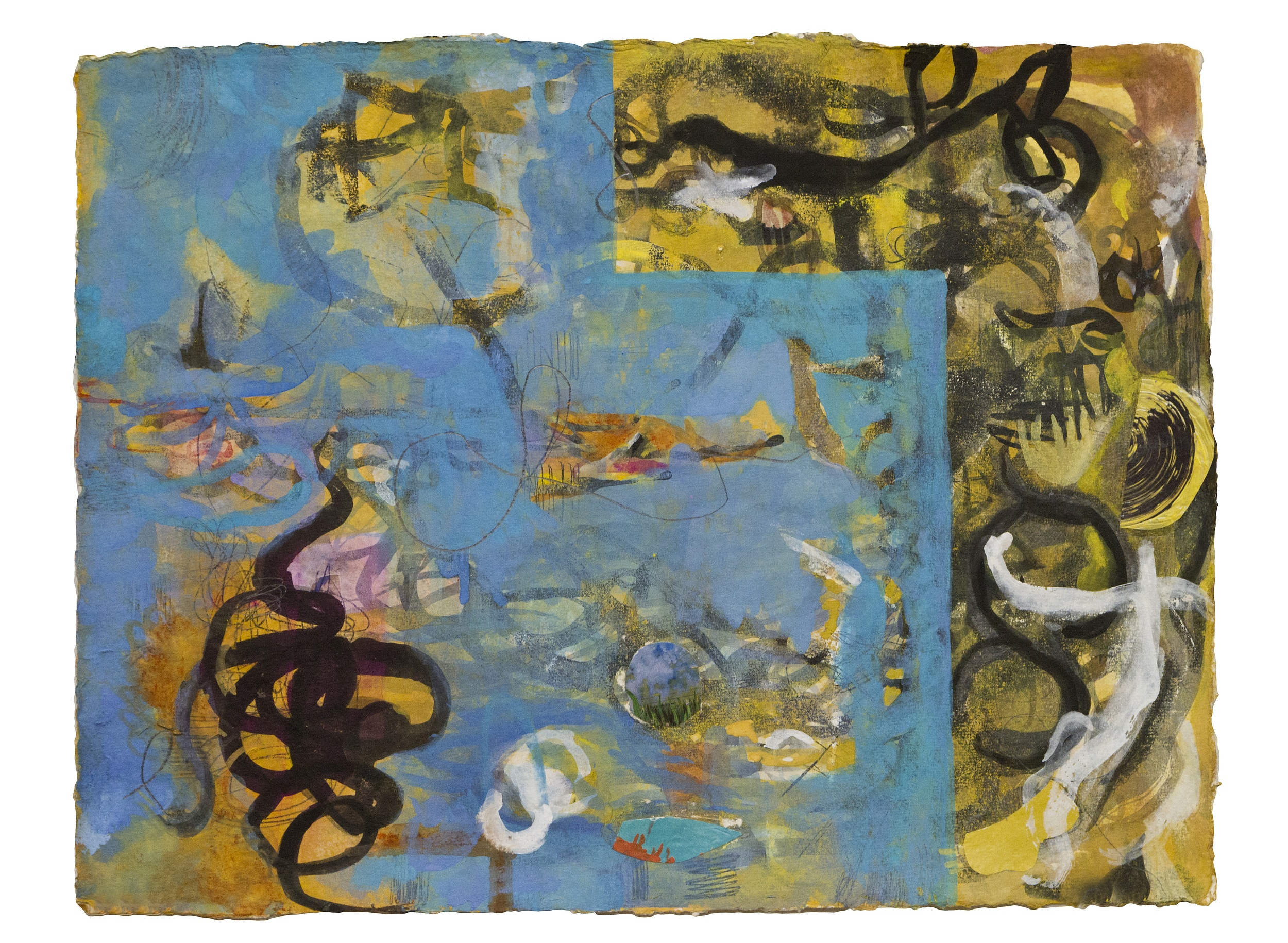 "Ink Scrawl Blue  , 12""x 16"", gouache, inkon handmade   paper, 2011"