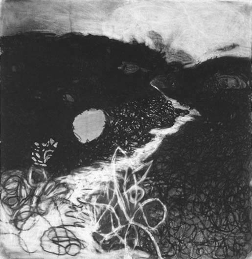 "Pathway,  42""x 40"", charcoal, 2006"