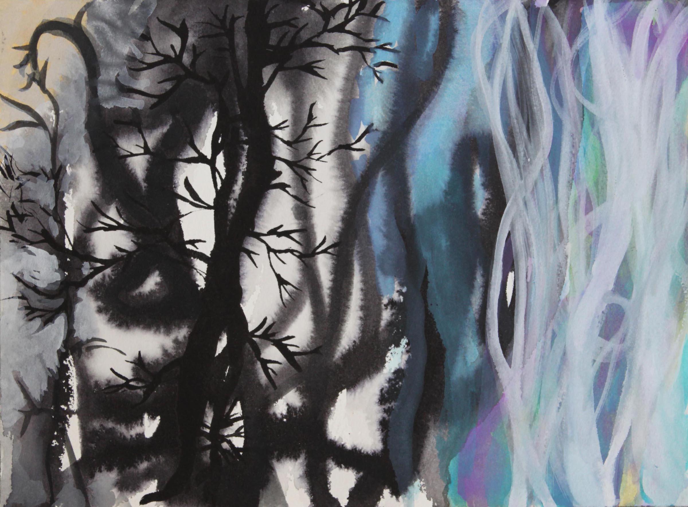 """Mt. Vision,  9""""x 12"""", gouache, ink, 2010"""