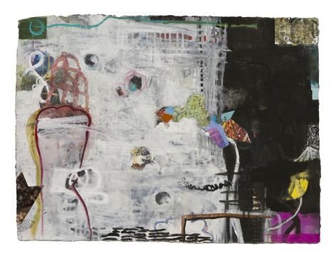 "Black White Opera Pink  , 12""x 16"", gouache, ink,   graphite, print media on handmade paper, 2011"