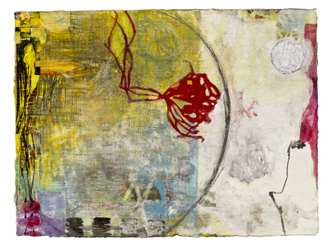 """Red Flower  , 12""""x 16"""", gouache, ink, graphite, print   media    on handmade paper, 2013"""