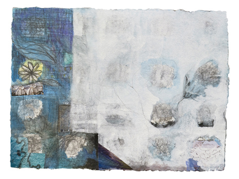 """Cloud Drawing with Blue  , 12""""x 16"""", gouache, graphite,  print media on handmade paper, 2011"""