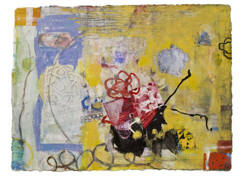 "Red Bow  , 12""x 16"", gouache,graphite,print      mediaon handmade paper, 2011"