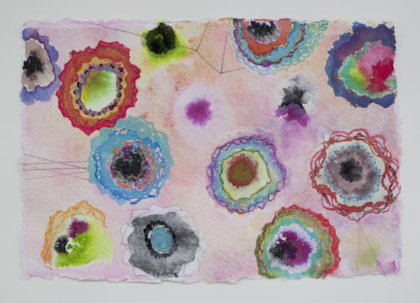 "Peach Poppies  , 12""x 18"", gouache, ink, graphite on handmade paper, 2013"