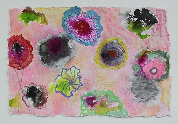 "Peach Poppies 2  . 12""x 18"", gouache, ink, graphite on handmade paper, 2013"
