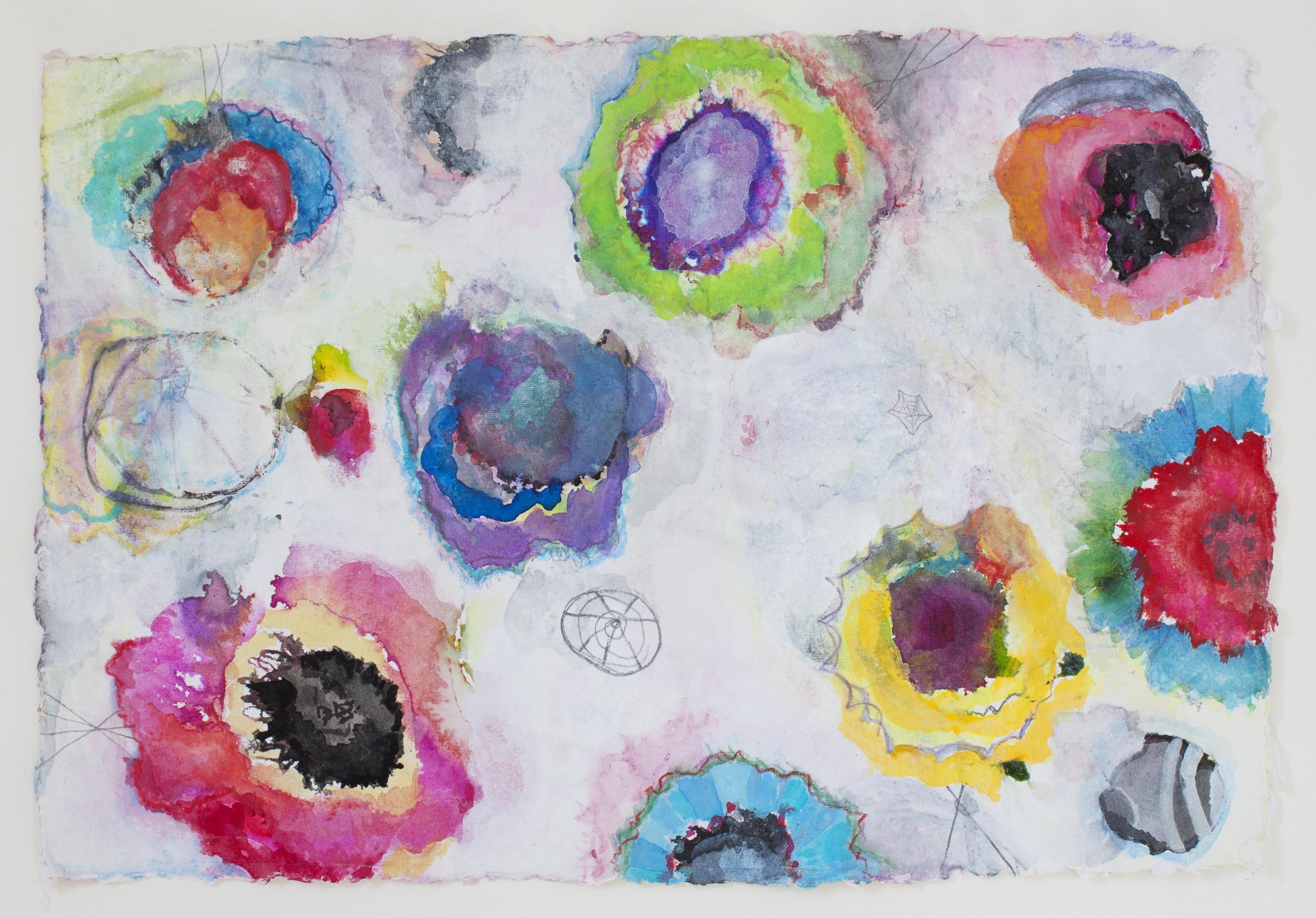 Poppies 4,  gouache, ink, graphite on handmade paper, 2013