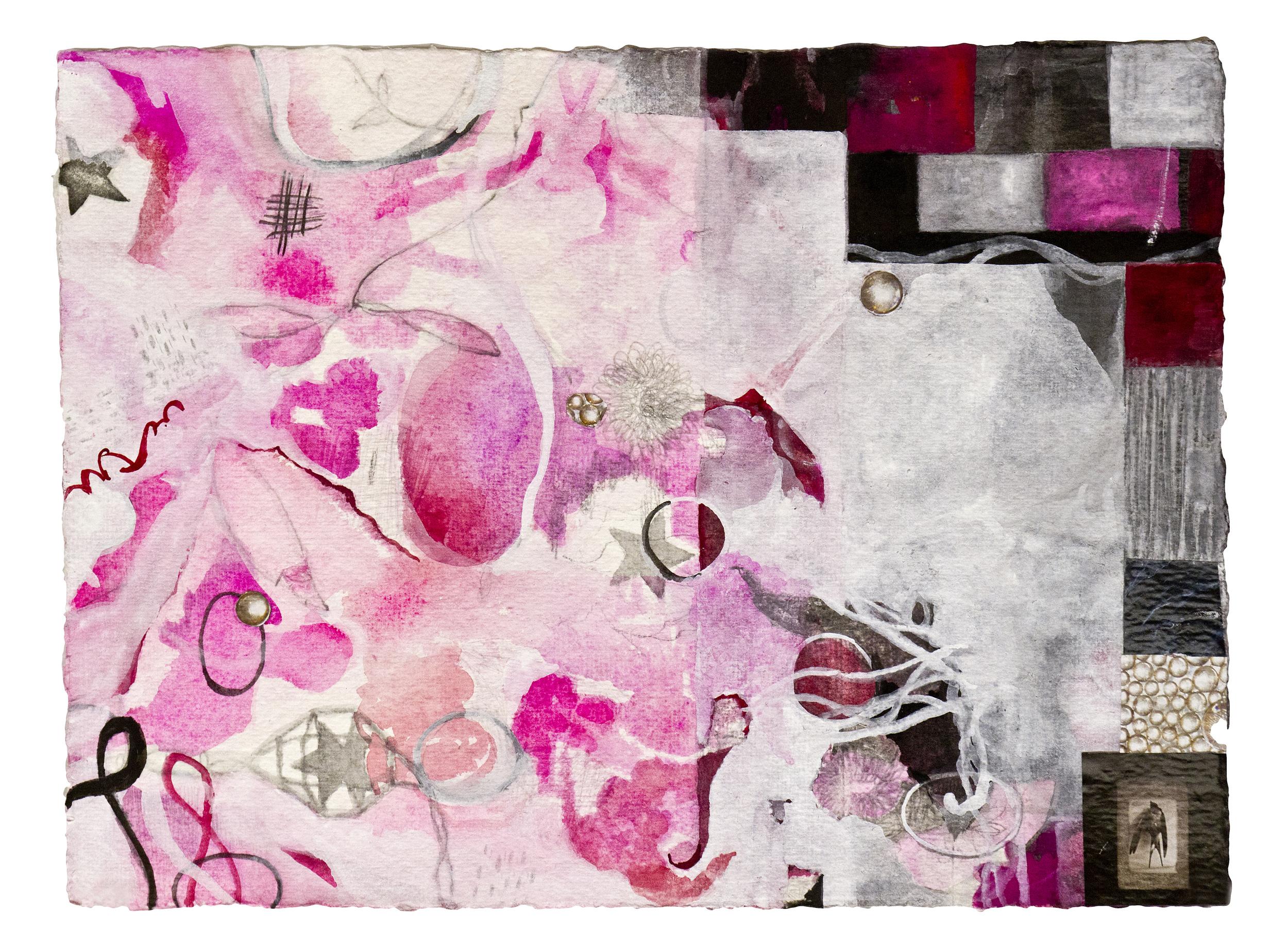 """Good n Plenty,  12""""x 16"""", gouache, graphite, print media on handmade paper, 2011"""